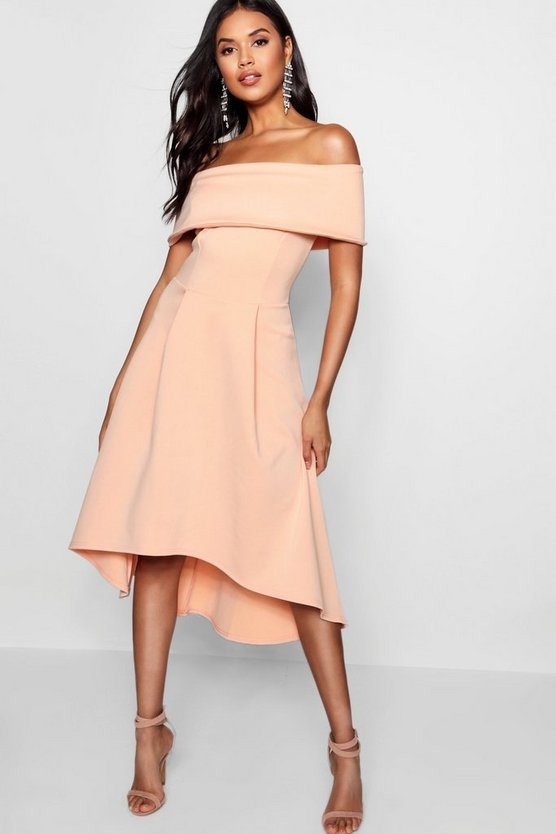 Womens Apricot Off The Shoulder Dip Hem Skater Dress