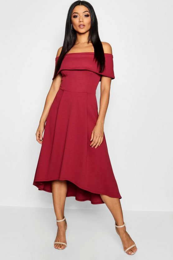 Womens Berry Off The Shoulder Dip Hem Skater Dress