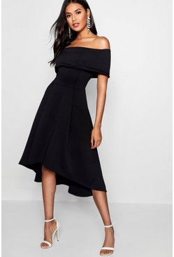 Womens Black Off The Shoulder Dip Hem Skater Dress