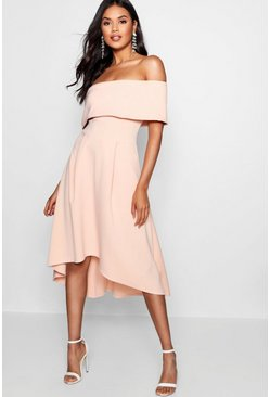 Womens Blush Off The Shoulder Dip Hem Skater Dress