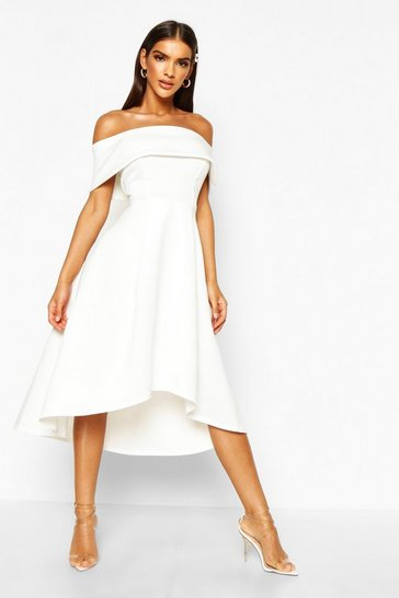 Ivory Off The Shoulder Dip Hem Skater Dress