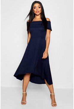 Womens Navy Off The Shoulder Dip Hem Skater Dress