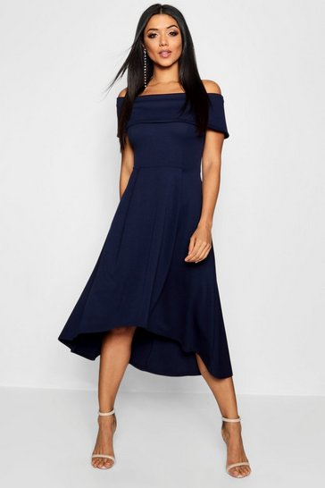Navy Off The Shoulder Dip Hem Skater Dress