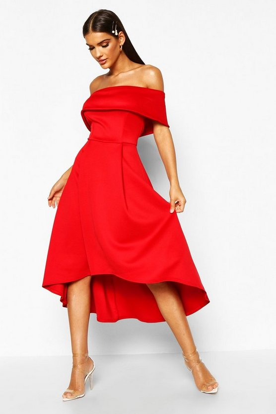 Womens Red Off The Shoulder Dip Hem Skater Dress