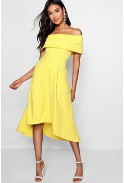 Womens Yellow Off The Shoulder Dip Hem Skater Dress