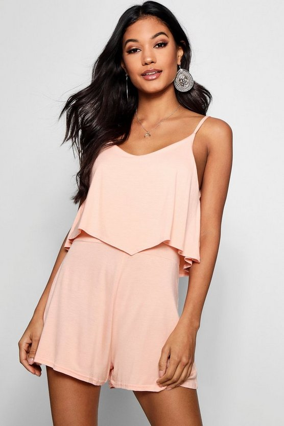Womens Blush Strappy Cami Overlay Playsuit