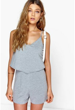 Womens Grey marl Strappy Cami Overlay Playsuit