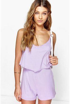 Lilac Strappy Cami Overlay Playsuit