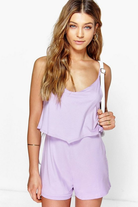 Womens Lilac Strappy Cami Overlay Playsuit