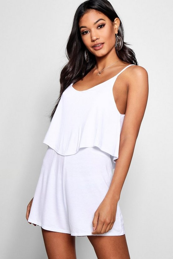 Womens White Strappy Cami Overlay Playsuit