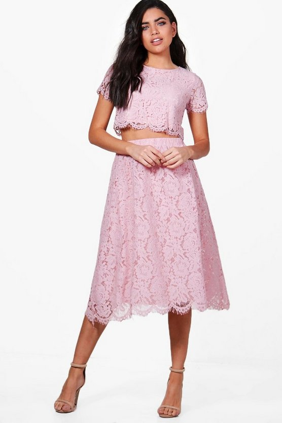 Boutique Aria Lace Midi Skirt Co-Ord Set