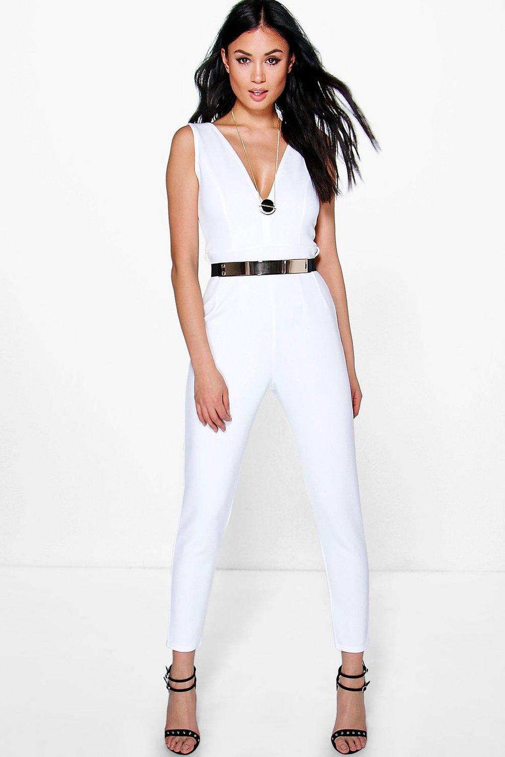 75d37024f44 Nina Deep Plunge Belted Skinny Leg Jumpsuit