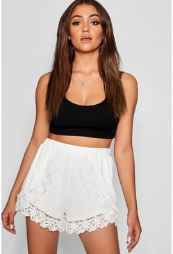 Cream Crochet Trim Runner Shorts