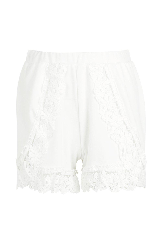 correr Pantalones de Crema de cortos adorno con crochet UEw6pqE