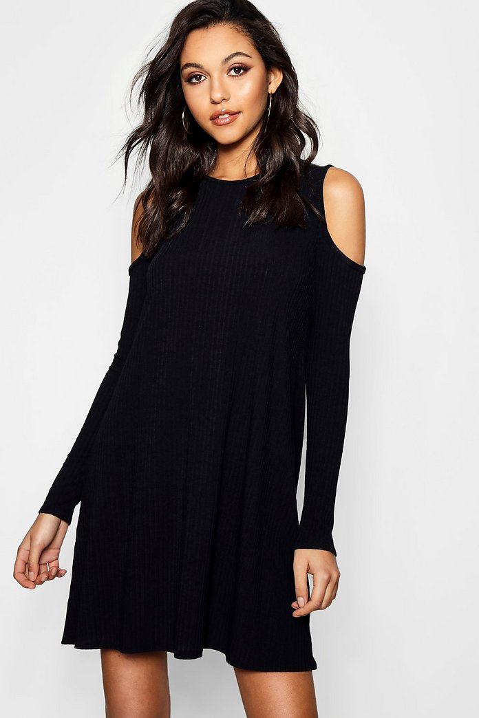 Womens Cold Shoulder Rib Marl Maxi Dress