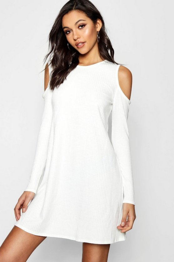 Cold Shoulder Soft Knit Rib Swing Dress