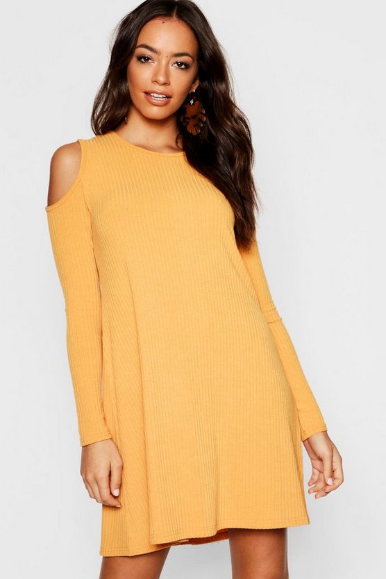 Womens Mustard Cold Shoulder Soft Knit Rib Swing Dress