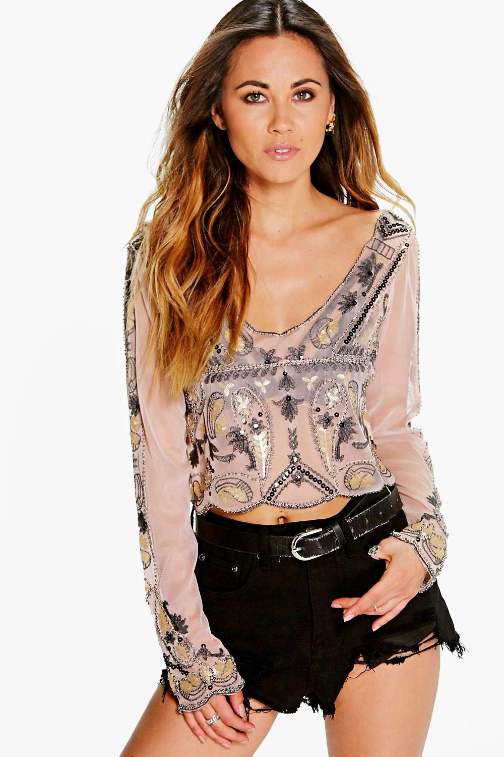 6b17cdcf5e298e Grace Embellished Barely There Crop Top. Hover to zoom