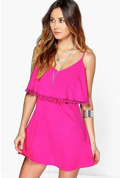 Womens Raspberry Pom Pom Double Layer Sundress