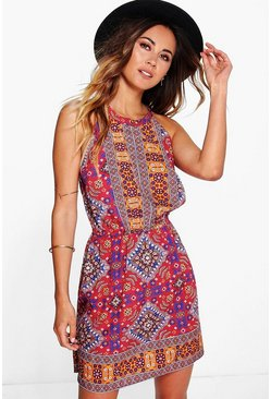 Womens Multi Printed Keyhole Sun Dress