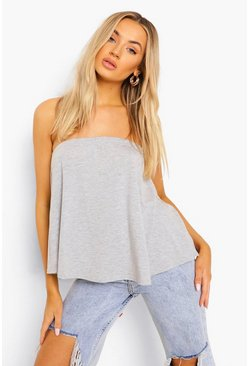 Womens Grey marl Basic Swing Tube Bandeau