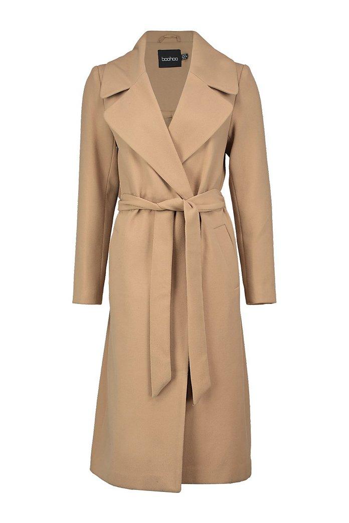 Long Robe Col Oversize Manteau Ceinturée AmelieBoohoo À bvfYgIy67