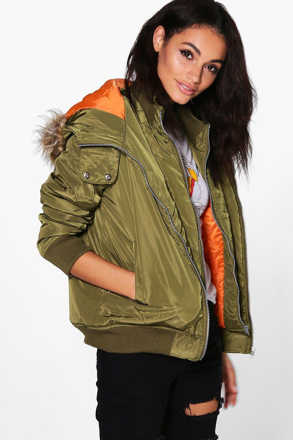 Abigail Double Layer MA1 Bomber Jacket | boohoo