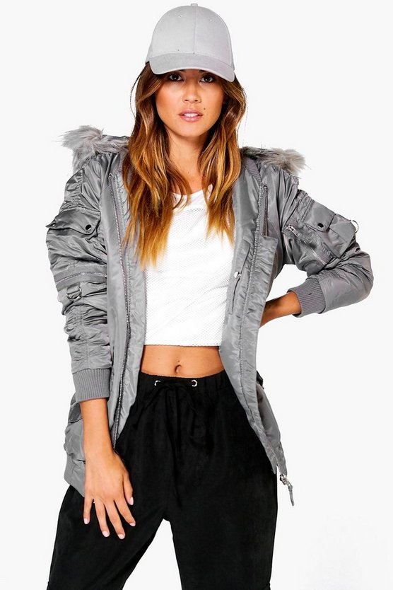 Womens Grey Emily MA1 Bomber With Faux Fur Hood