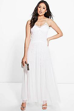 1920s Wedding Dresses- Art Deco Style Boutique Ella Beaded Back Detail Maxi Dress $102.00 AT vintagedancer.com