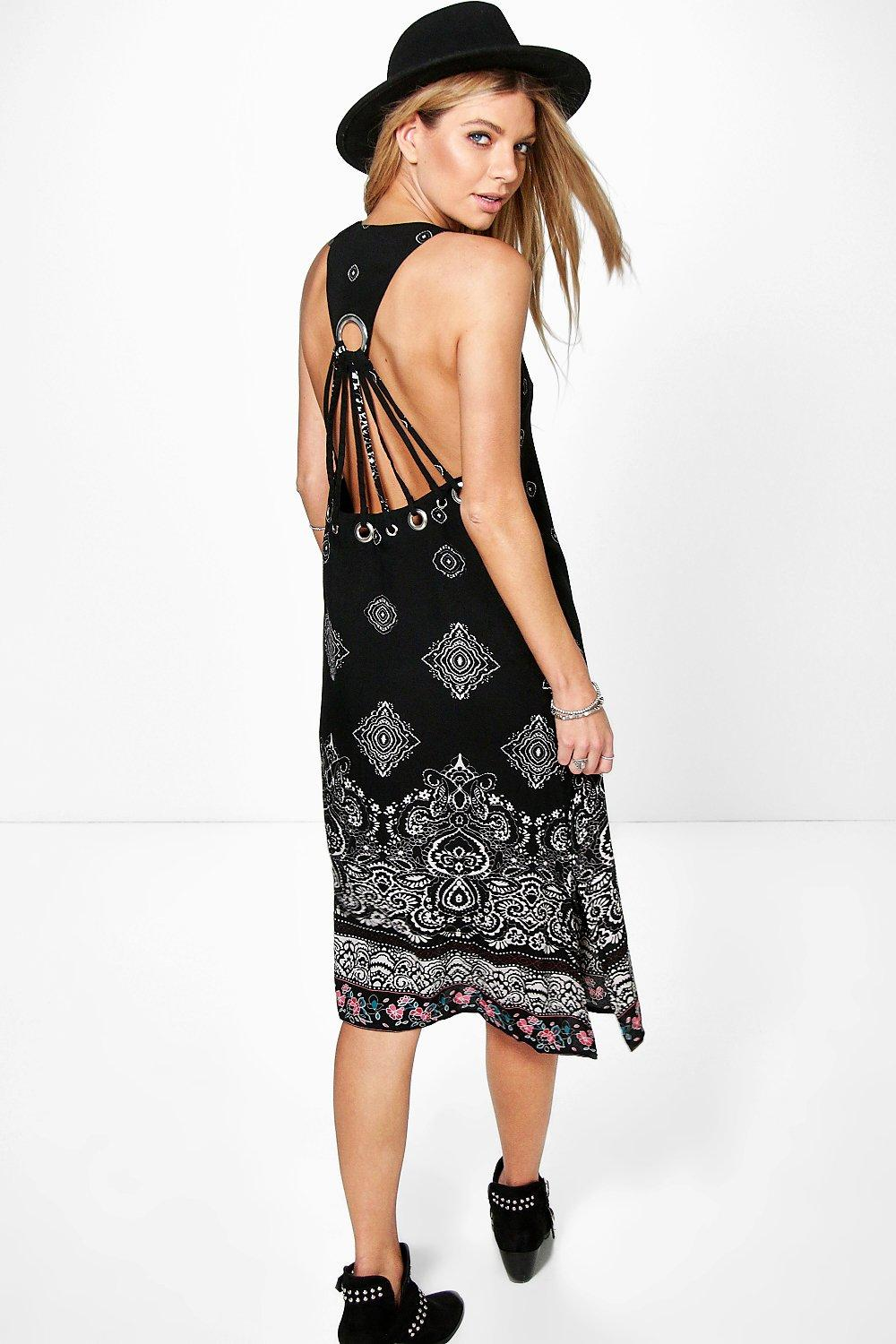 Arni Back Detail Border Print Midi Dress | Boohoo