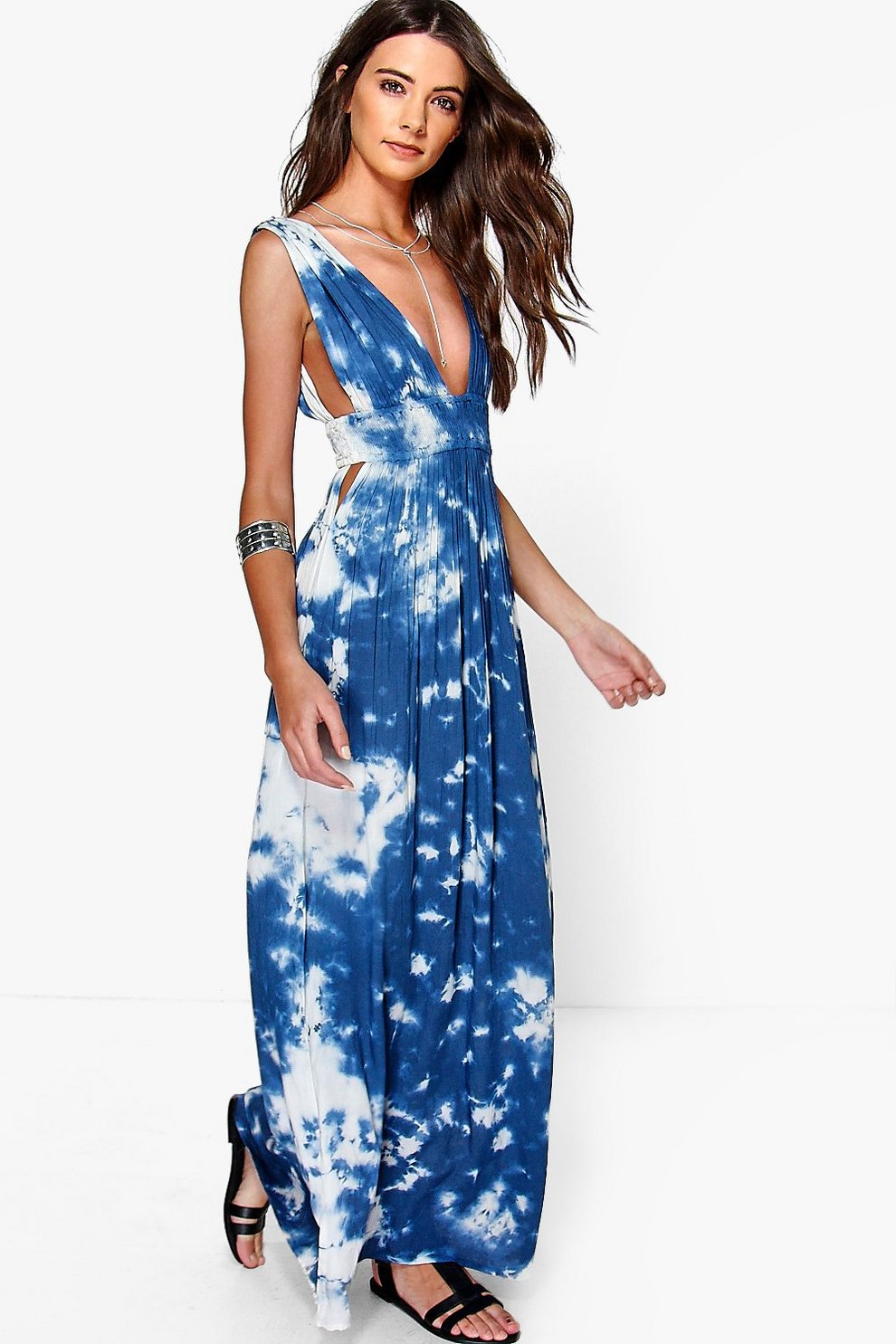 95159c4d371 Womens Blue Aaradhya Tie Dye Elastic Waist Maxi Dress. Hover to zoom