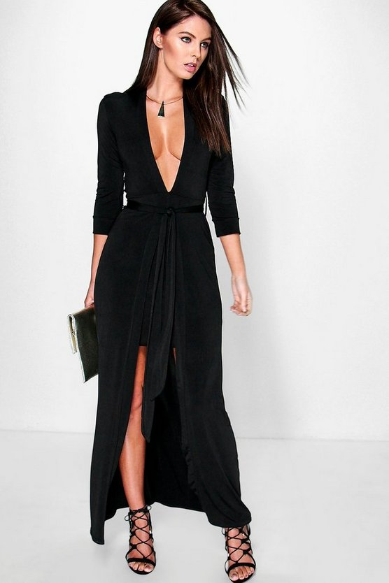 Womens Black Denise Double Layer Tie Front Maxi Dress