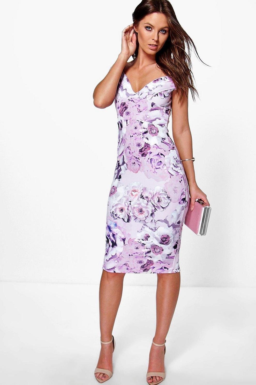 02704ddfcb33 Gracelynn Off The Shoulder Floral Midi Dress | Boohoo