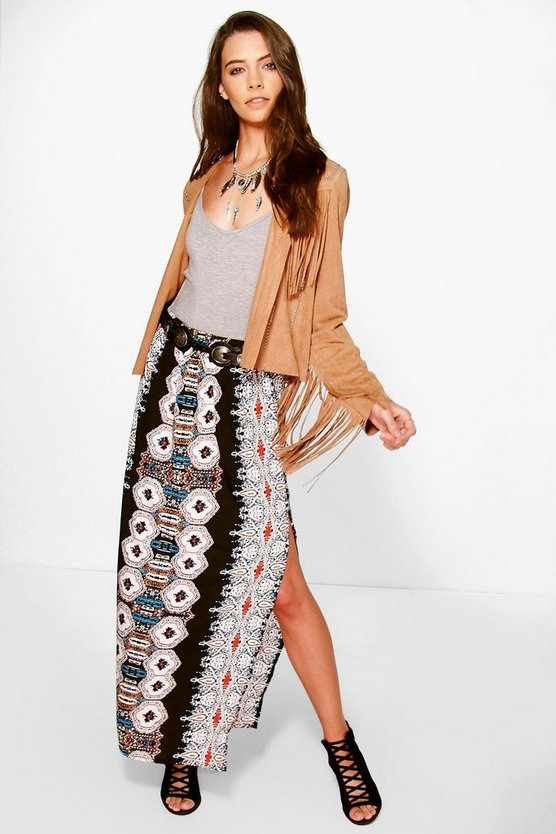 Sophia Placement Print Maxi Skirt
