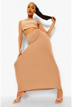 Womens Camel Basic Jersey Maxi Skirt