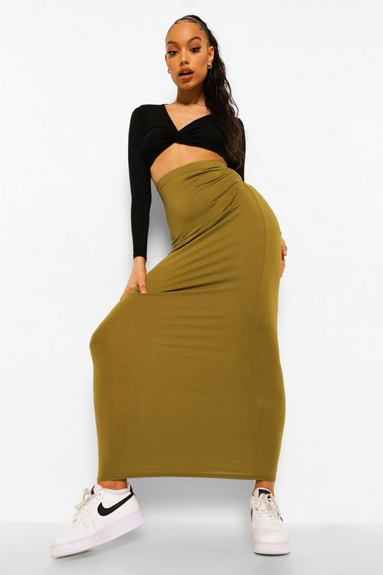Womens Dark olive Basic Jersey Maxi Skirt