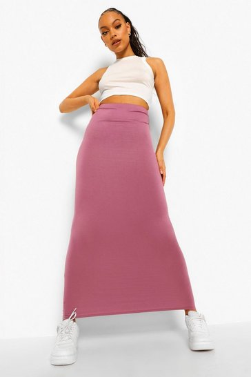 Womens Mauve Basic Jersey Maxi Skirt