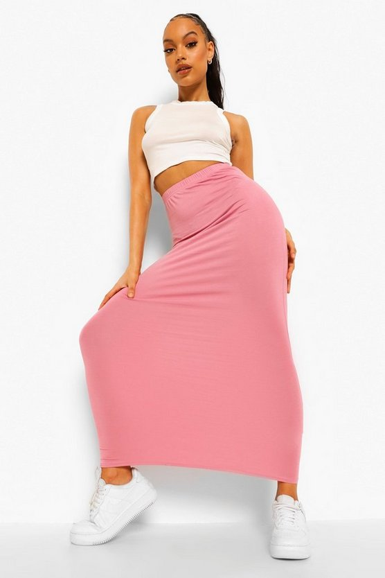 Womens Rose Basic Jersey Maxi Skirt