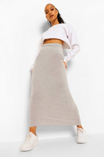 Womens Silver Basic Jersey Maxi Skirt