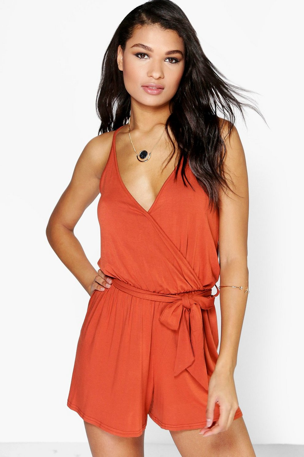 69854a7e25c4 Cami Style Wrap Belt Jersey Playsuit | Boohoo