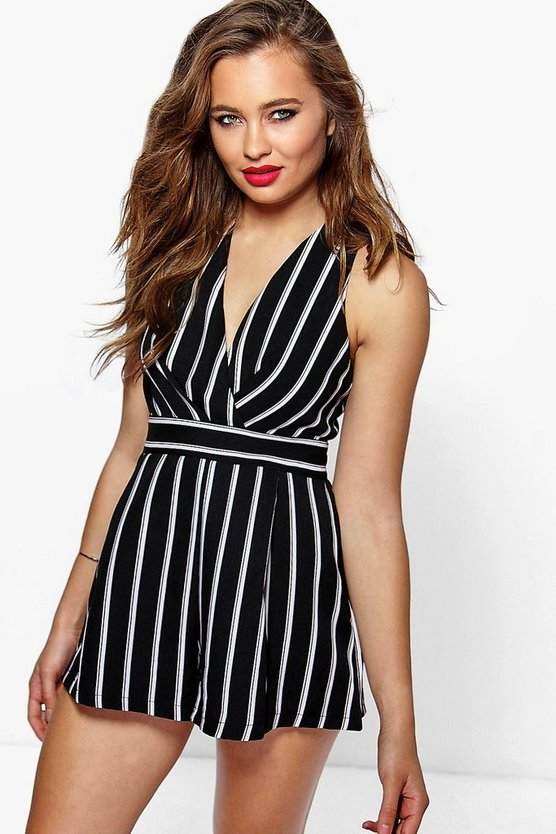 Wrap Over Stripe Playsuit