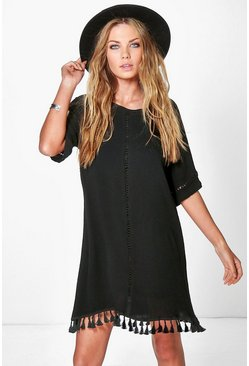 Womens Black Festival Tassel Shift Dress