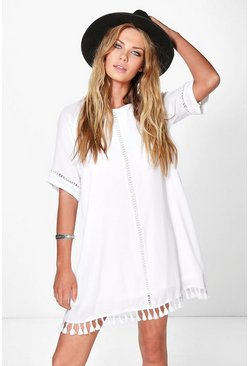 Womens Ivory Festival Tassel Shift Dress