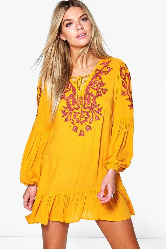 Tisha Embroidered Frill Hem Smock Dress