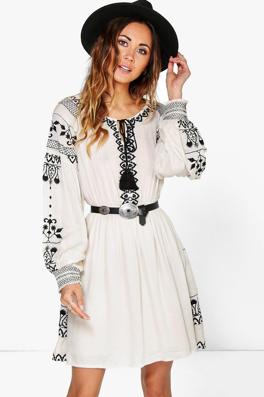 936ff69d32e82 Boutique Ari Embroidered Blouson Sleeve Dress | Boohoo
