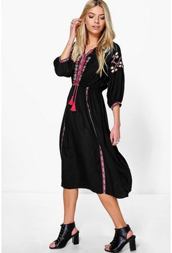 Womens Black Embroidered Tape Detail Midi Dress