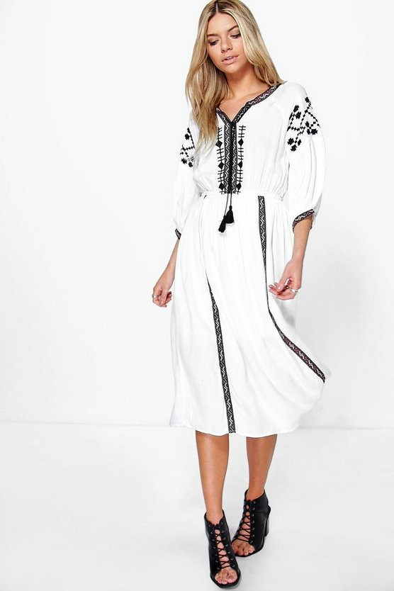 Womens Cream Embroidered Tape Detail Midi Dress