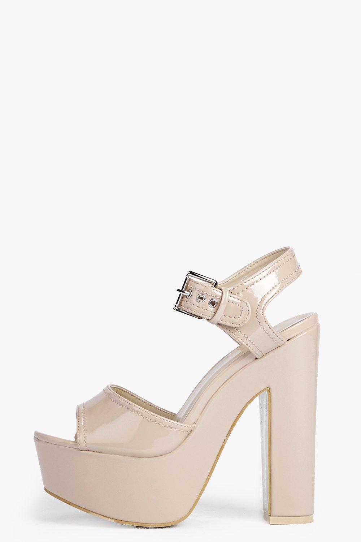 Emilia Patent Platform Ankle Strap Heels | boohoo
