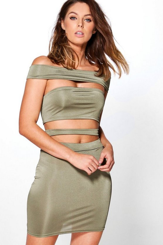 Womens Off The Shoulder Strappy Co-Ord Set