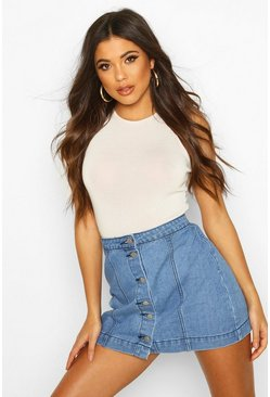 Womens Blue Western Style Button Though Denim Skirt
